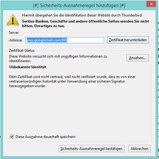 Gmail Account nicht abrufbar - Konten einrichten - Thunderbird Mail DE
