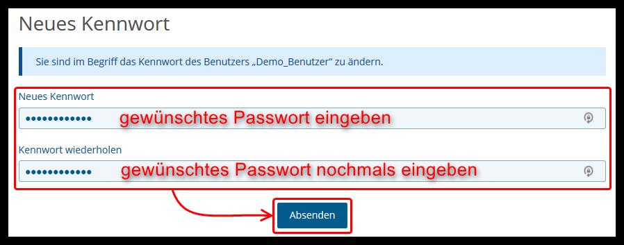 Diese Webseite: Passwort vergessen - neues Passwort
