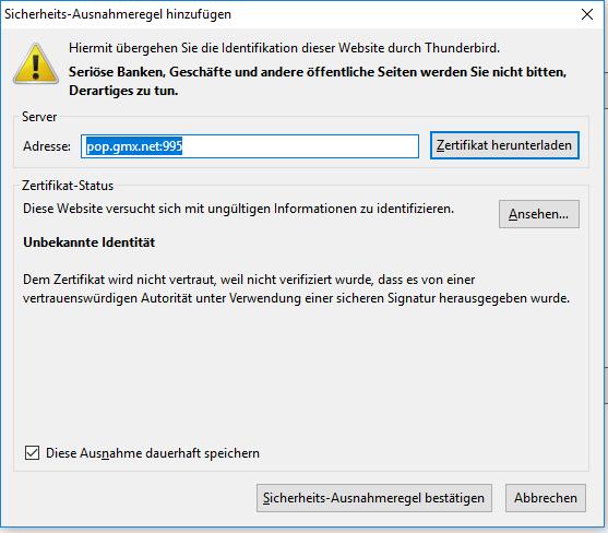 thunderbird gmx zertifikat