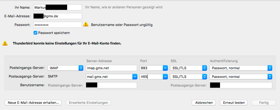 gmx login probleme passwort